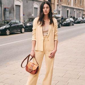 Sezane Tailored Cream Gracie Jacket, Size 8